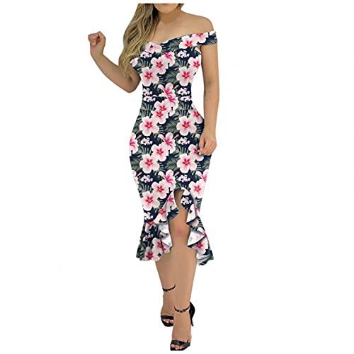 Vestido de verano para mujer, con un hombro, largo hasta la rodilla, cintura alta, sin mangas, vestido de noche, con ranuras., #4_hot Pink, L