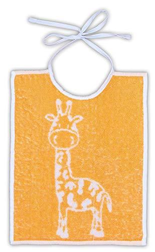 5 x Babylätzchen Frottee zum Binden in der Größe 30 x 35 cm kochfest 95° (Giraffe gelb)