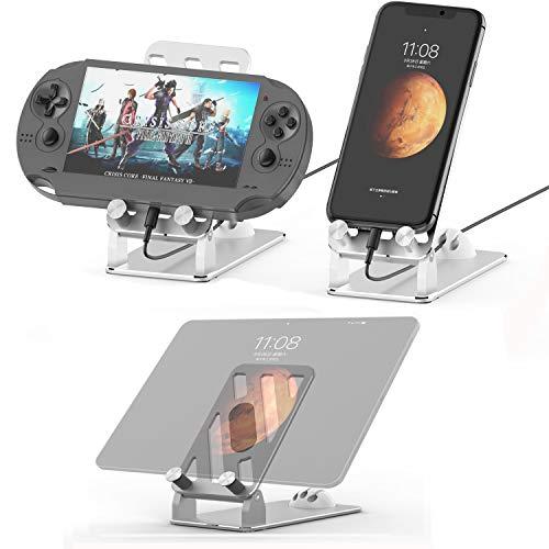 タブレット スタンド ipad スタンド スマホ スタンド iphone スタンド 卓上 角度調整可能 アルミ合金素材 スマホホルダー 角度調整可能 携帯電話卓上スタンド 充電可能 折り畳み式 持ち運びやすい 滑り止め付き 軽量 iPhone/iPad/Huawei MediaPad/kindle/fire/Sony/Samsung 等に対応