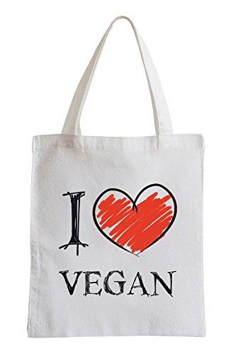 I love Vegan Fun sac de jute