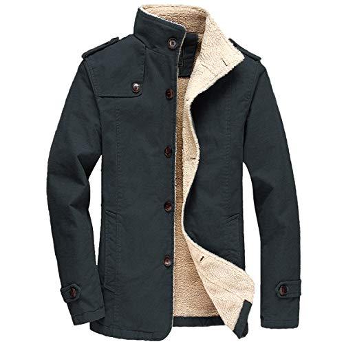 FTIMILD Men's Winter Jackets Fleece Warm Coats Sherpa Lined Parka Thick Outerwear Navy