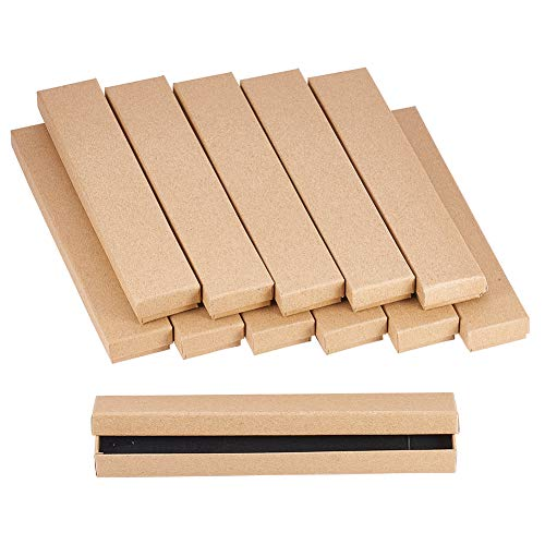 NBEADS 12 Pcs Cardboard Jewelry Box, Rectangle Gift Box Kraft Paper Box for Jewellery Presentation, Tan, 21x4x2cm