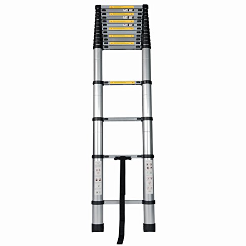 Good Life 15.5FT Telescopic EN131 Professional Folding Aluminum Multi Purpose Telescoping Ladder Extension Ladder with Spring Loaded Locking HMI023