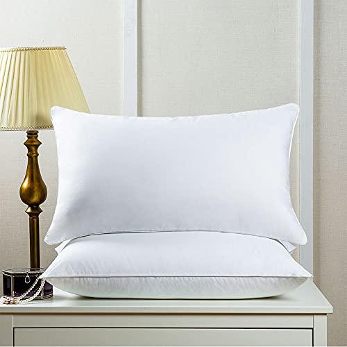 DUYH Almohada Suave Estereoscópica de Algodón Puro de 2 Piezas,Almohada de Algodón para el Hogar.48×74 cm,Blanco. (Medio 1000g)