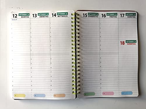 Agenda Weekly View A5 15 x 21 cm – od sierpnia 18 do grudnia 19 – terminarz wiązanie spiralne