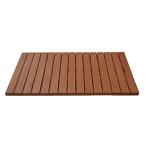 Estera de baño de madera, tablero de pato, alfombras antideslizantes para pisos de madera, protector de piso de spa, accesorios de baño de madera, personalizable ( Color : Brown , Size : 80x80cm )