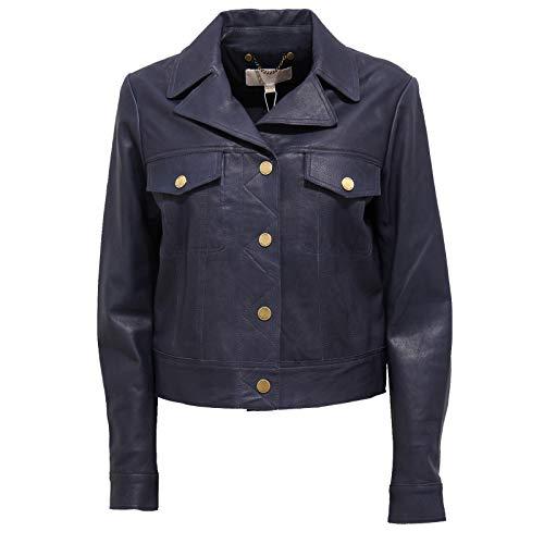 Michael Kors 7769J Giubbotto Donna Blue Navy Vintage Effect Leather Jacket Woman [M]
