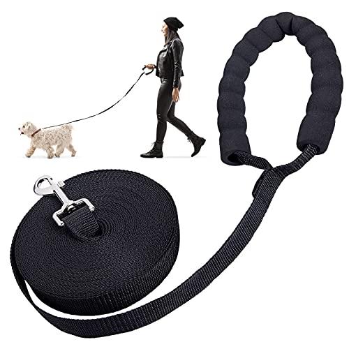 Schleppleine für Hunde, 10m Hund Trainingsleine Nylon Geflochten Hundeleine Große Langlaufleine Lange Hund Laufleine mit Gepolsterten Griff für Kleine bis Große Hunde, Schwarz