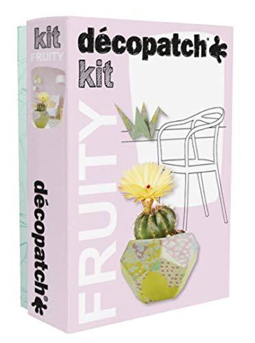 Decopatch KIT023C – Kit Fruity con Tapa geométrica y grúa Origami de Papel pulpado marrón, 3 Hojas, Pincel y un Bote de Pegamento