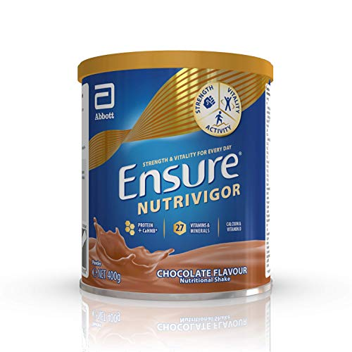 Ensure NutriVigor Protein Shake | Boost Energy* and Help Support Recovery**| Vitamin D Supplement with Protein, CaHMB and 27 Vitamins and Minerals | 400g | Chocolate Flavour