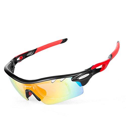 Inbike ciclismo occhiali da sole polarizzati Bike occhiali bicicletta occhiali Outdoor Sports donna da uomo 5gruppi di lenti, Black
