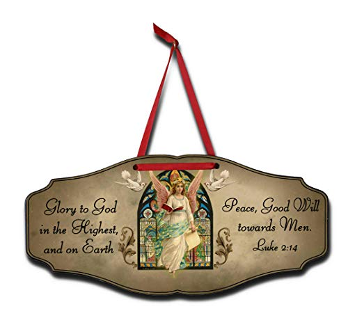 """THOUSAND OAKS BARREL """"Glory to God is The Highest, and on Earth.Peace, Good Will Towards Men."""" Luke 2:14 Decorative Hanging Wooden Christmas Sign -  KEN3008"""