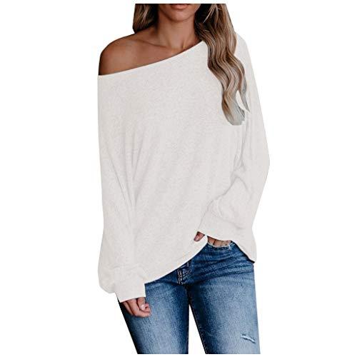 Xniral Damen Bluse Mode Tie-dye/Leopard/Einfarbig Langarm U-Boot-Ausschnitt Basic Oberteil Lose Sweatshirts Beiläufig Mode Streetwear(Weiß,S)