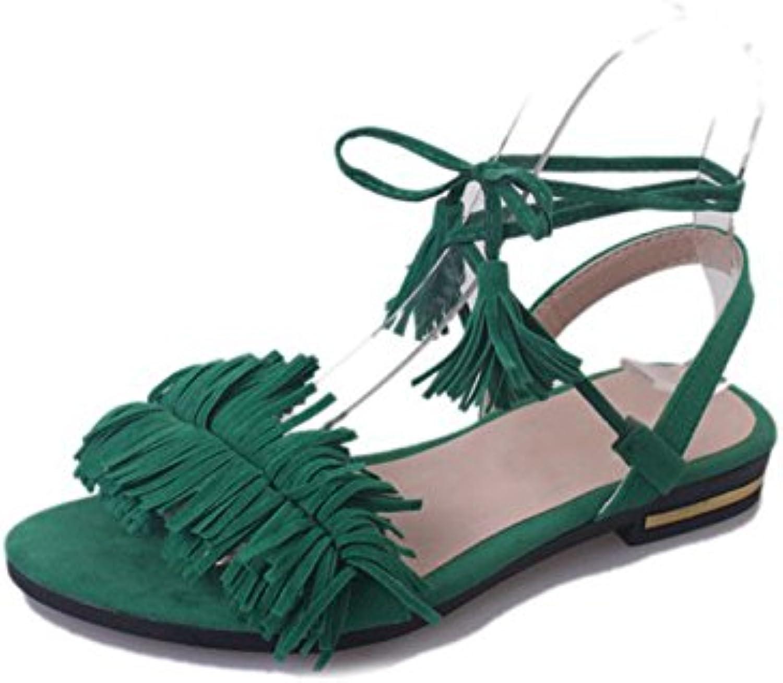 Dahanyi Stylish Woman Fashion Tassel Straps Flat Sandals for Women Flip-Flops Women Summer Beach shoes Black Green Red 35-40