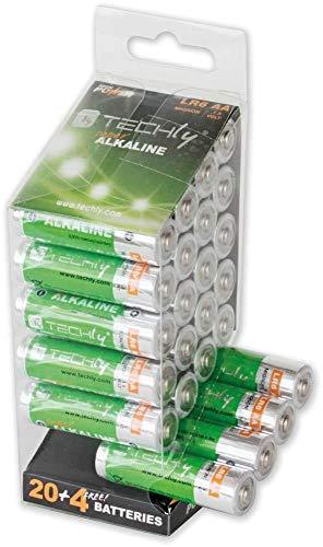 Techly 306998 Multipack 24 Batterie High Power Stilo AA Alcaline LR06 1,5V