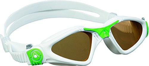 Aqua Sphere Kayenne Polarized Swimming Goggles - White/Green, Small