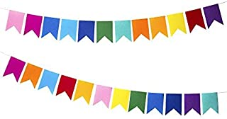 Rainbow felt Fabric Bunting, 24 Pcs/ 16.4 Feet(2 Pack), Decoration Banners for Birthday Party, Baby Shower, Window Decorations and Children's Living Room Decorations