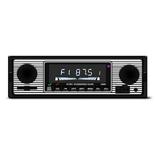 Deliu Vintage Car Radio inalámbrica Reproductor de MP3 Estéreo USB/AUX Audio estéreo clásico FM Negro
