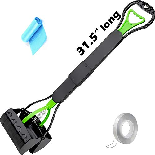 LANNEY Pooper Scooper for Large Small Dogs, Long Handle 31.5 Inches Foldable Jaw Claw Poop Scoop for...