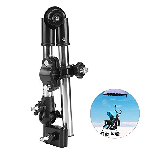 Zerodis Regenschirm Halter für den Spaziergänger 360 ° justierbarer Fahrrad Regenschirm Strecken Berg Stand Halter Kinderwagen Kinderwagen Fahrrad Stuhl(Black)