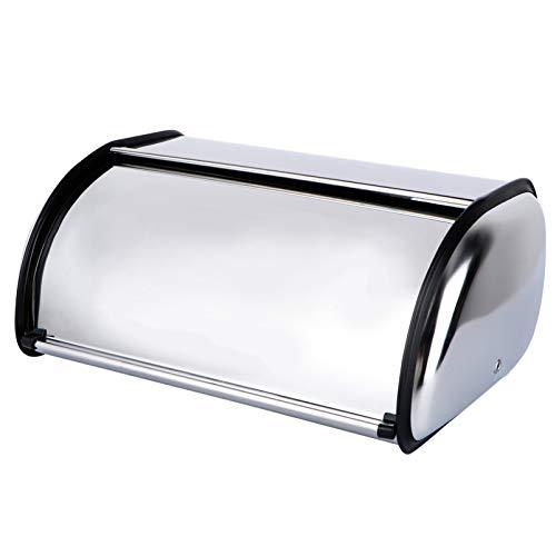Cabilock Stainless Steel Bread Box for Kitchen Metal Bread Storage Bin Roll Up Top Lid Bread Containers Storage Bin Keeper Box
