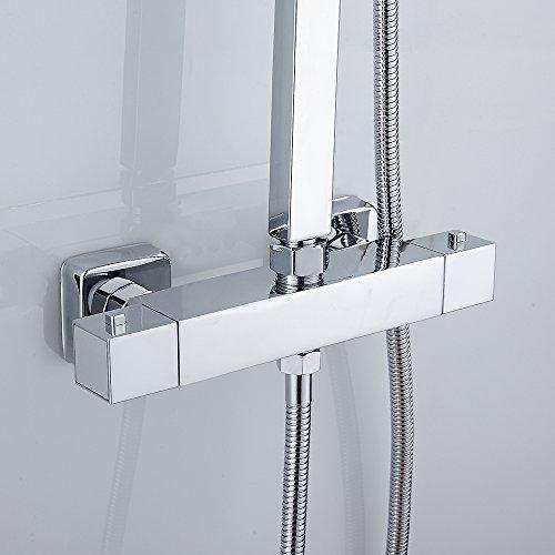 Duschthermostat Duscharmatur Thermostat für Dusche mit 38 °C Sicherheitstaste,aus Messing Verchromt Eckiger Brausethermostat mit Oben G 3/4 und Unten G 1/2 Auslauf Anschluss Chrom