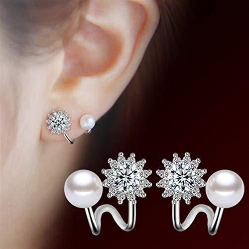 Pendientes de plata de ley 925 para mujer de imitación de perlas de las mujeres de la joyería de moda simple temperamento hexagrama estrella pendientes pendientes de tuerca