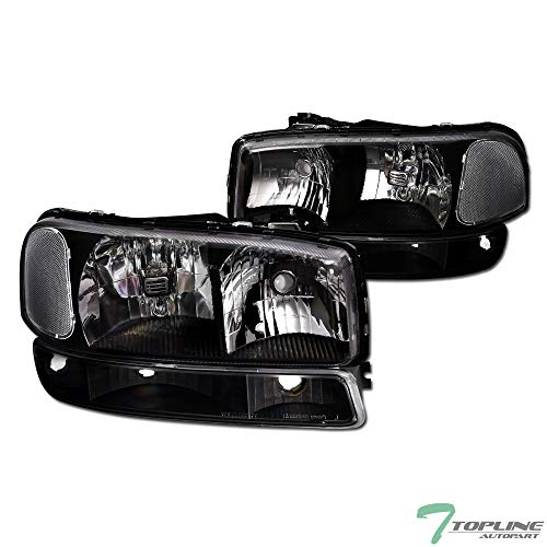 Topline Autopart Black Clear Housing Headlights With Signal Bumper Lamps 4-Pieces NB For 99-06 GMC Sierra / 2007 Classic Style / 00-06 Yukon/XL