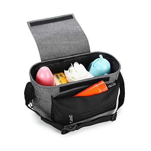 Wirezoll Kinderwagen Organizer, Universale Baby Kinderwagentasche Buggy Tasche mit Stahlring und verstellbaren Bändern (Grau)