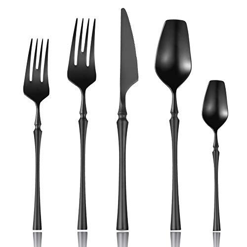 Lemeya 20-Piece 18/10 Stainless Steel Matte Black Silverware Set Luxury Flatware Cutlery Set Service for 4 Include Knife Fork Spoon Dishwasher Safe (Black 20 Piece Set)