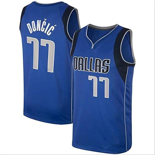 HYQ NBA Jersey, New Season Llanero Equipo, 77 Camiseta Uniformes de Baloncesto Camisa Bordada edición de la Ciudad prensado en Caliente Jersey,Azul,L/50