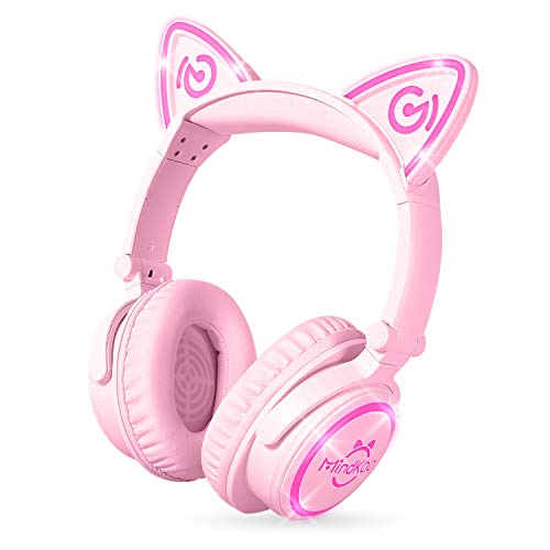 MindKoo Bluetooth Headphones, Over-Ear Wireless Headphones, Cat Ear Headphones with LED Light, Foldable, Built-in Microphone and Volume Control for PC/Cell Phones/Kids/Teen/Boys/Girls/Adults, Pink