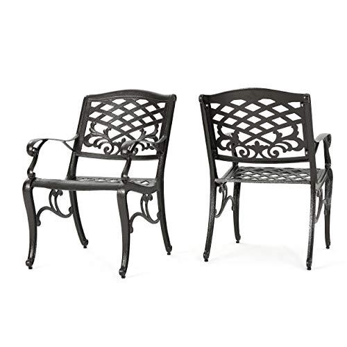 Christopher Knight Home Sarasota Outdoor Cast Aluminum Outdoor Chairs, 2-Pcs Set, Hammered Bronze