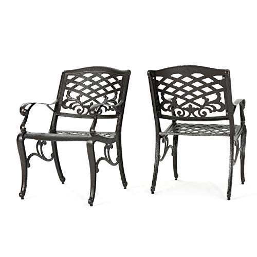 Christopher Knight Home Sarasota Outdoor Cast Aluminum Outdoor Chairs, 2-Pcs Set, Hammered Bronze