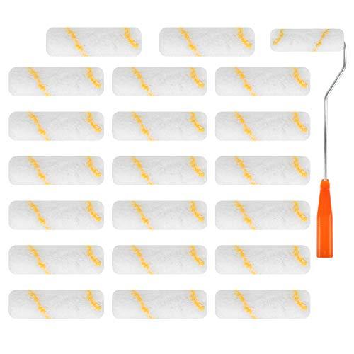 Rouleaux de Peinture, 20 Pcs Mini Rouleau de Mousse Sont Utilisés pour la Décoration Architecturale, Mini Brosse à Rouleau et Porte-Brosse à Rouleau Conviennent aux Murs Plafonds et Portes