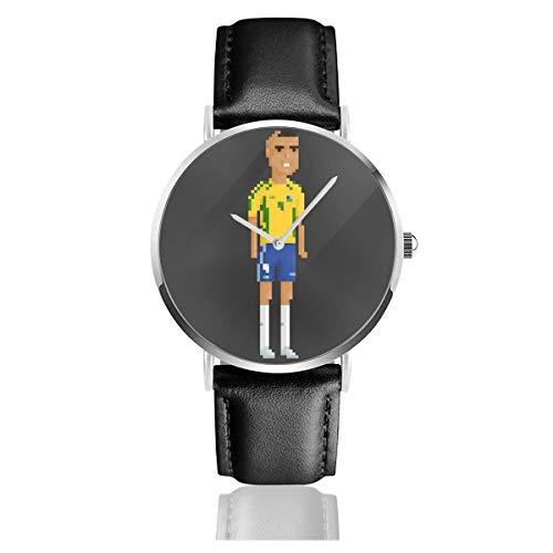Unisex Business Casual Pixel Cristiano Ronaldo Uhren Quarz Leder Uhr mit schwarzem Lederband für Männer Frauen Junge Kollektion Geschenk