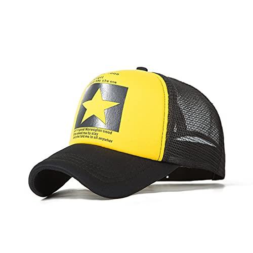 Gorra de béisbol para Hombre Gorra de Malla para Mujeres Hombres Sombreros Snapback para el Sol Sombrero de béisbol Ajustable para Hombres-Mesh Yellow