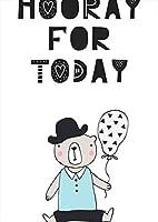 igsticker ポスター ウォールステッカー シール式ステッカー 飾り 728×1030㎜ B1 写真 フォト 壁 インテリア おしゃれ 剥がせる wall sticker poster 015730 英語 熊 風船