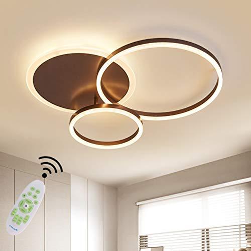 LED Lampen Deckenleuchte Wohnzimmerlampe Dimmbar Decke Leuchte Moderne Schlafzimmer Acryl Schirm Deckenlampe Rund Ring Design Pendelleuchte Esszimmer Küche Büro Flur Deko Fernbedienung Licht (3 Ring)