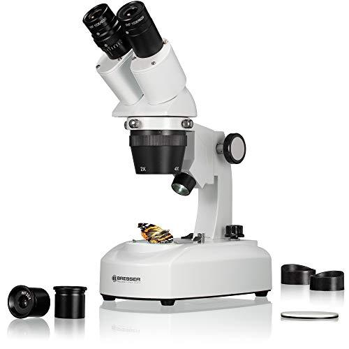 Bresser 3D Stereo Auflicht Durchlicht Mikroskop Researcher ICD LED 20x-80x mit 360° drehbarem Tubus, LED Beleuchtung mit Akku- oder Netzbetrieb, für dreidimensionale Beobachtungen