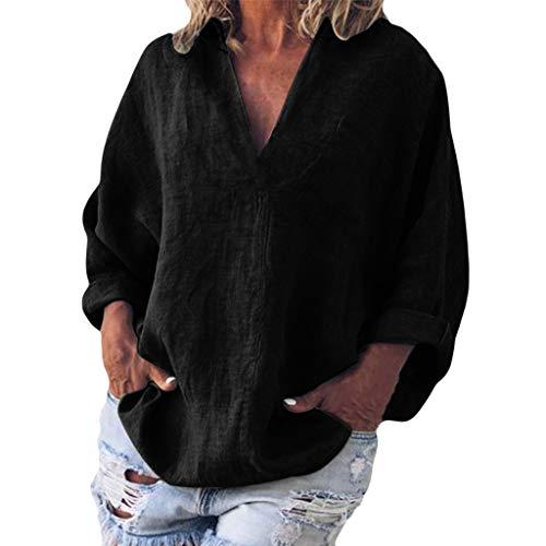 Camicia Casual da Donna,Sasstaids❀ T-Shirt a Maniche Corte Tinta Unita, Le Donne di Modo di Estate Casuale Solido di Colore V-Neck Tasca Maniche Corte Top,Poliestere