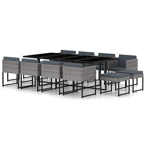 vidaXL Salon de Jardin 13 pcs avec Coussins Ensemble de Salle à Manger de Patio Table et Chaises de Terrasse Extérieur Résine Tressée Gris