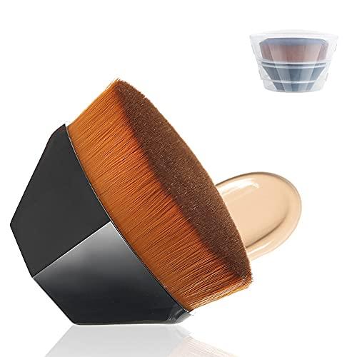 Brocha para Base de Maquillaje, cepillo para cosméticos de alta densidad sin rastro en forma de pétalo, para mezclar cosméticos,líquido o polvos, seco y húmedo con estuche de almacenamiento
