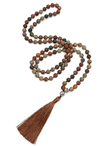 Benava Mala - Collar de 108 perlas de jaspe para mujer, color rojo, cadena larga de piedras preciosas con colgante de cobre y borla