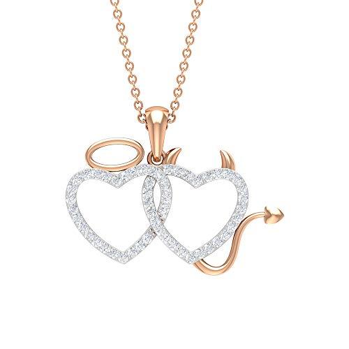 Collar de diamante de corazón doble de 1/3 quilates, collar de ángel y diablo, colgante de diamante para mujer