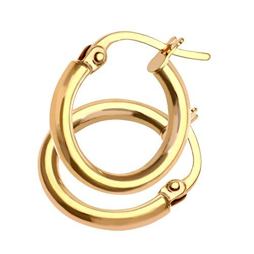 Citerna Damen-Ohrringe Creolen 9 Karat Rundrohr 10 mm 375 Gelbgold 1,2 cm UER044Y