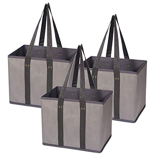 3 Pack Large Reusable Grocery Bags Foldable Durable Heavy Duty Tote Bag Set Eco Friendly Collapsible Shopping Cart Boxes Storage Bins Cubes with Long Handles & Reinforced Bottom