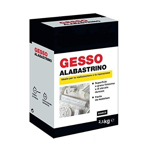 Gesso alabastrino 2,5kg tipo II bianco ceramico Adatto a colate in stampi di Silicone,realizzazione di calchi 3D.
