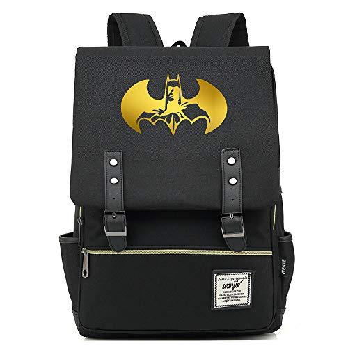 Batman The Dark Knight The Bat Rucksack Herren Schulrucksack, Laptop-Rucksack für Jungen Mädchen Für 14-Zoll-Laptop 16inch Unisex Leichte 17L College-Rucksack Daypack (Schwarz,06)
