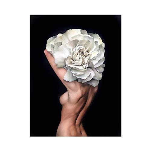 OYFFL Flor Mujer Cabeza nórdico Abstracto Pared Arte impresión Pintura Lienzo Cartel...